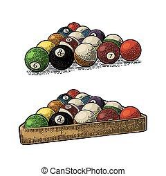pelotas billar, triángulo, shadow., vendimia, número, ...