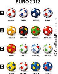 pelotas, color, nacional, equipos fútbol, euro, 2012