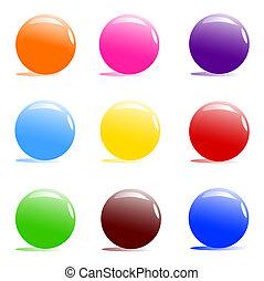 pelotas, color, variado, blanco