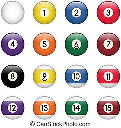 pelotas, coloreado, cero, conjunto, quince, piscina