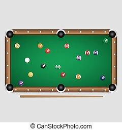pelotas, completo, color billar, conjunto, tabla, eps10