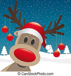 pelotas, cuelgue, reno, nariz, navidad, rojo