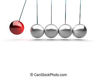 pelotas, encima, newtons, el balancear, cuna, plano de...