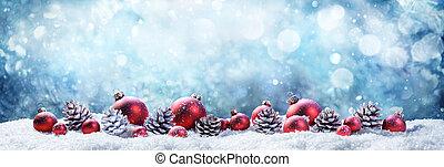 pelotas, escena nieve, wintery, navidad, piñas