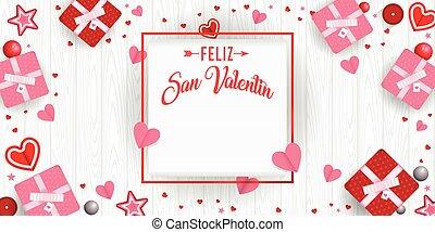pelotas, estrellas, marco, día, cajas, vector, de madera, imagen, valentino, blanco, rodeado, valentin, idioma, san, cuadrado, -, fondo., feliz, español, regalo, corazones, rojo, rosa, feliz