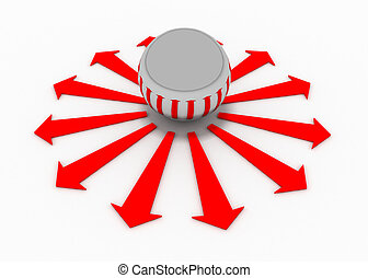 pelotas, flecha, dirección