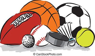 pelotas, ilustración, deportes