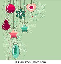 pelotas, luz, navidad, estilizado, fondo verde, contorno