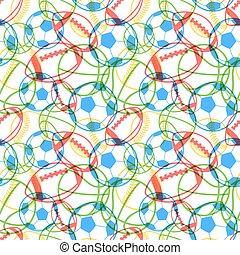 pelotas, múltiplo, colorido, iconos, patrón, seamless, deportes, blanco brillante