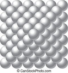 pelotas, metal, pirámide