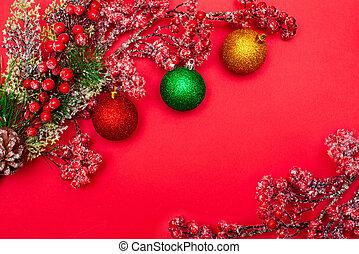 pelotas, navidad, rama, bayas