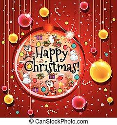 pelotas, plantilla, fondo rojo, tarjeta de navidad, feliz