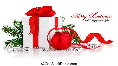 pelotas, regalo, rama, firtree, navidad, rojo
