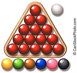 pelotas snooker, triángulo, marco