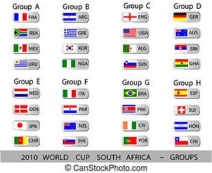 pelotas, taza, -, áfrica, grupos, mundo, 2010, sur