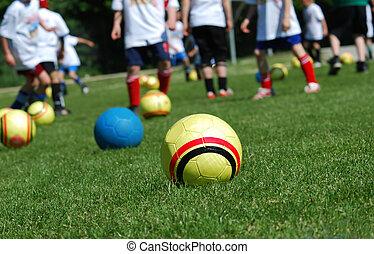 pelotas, y, niños