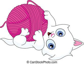 pelote de laine, chaton