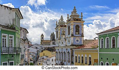 Pelourinho houses, chuches and facades - View of Pelourinho,...