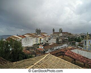 Pelourinho roofscape before a storm - View across the...
