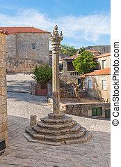 Pelourinho in medieval village in the castle of Sortelha.