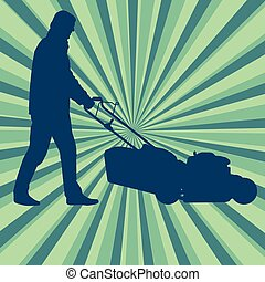 pelouse, affiche, découpage, vecteur, fond, déménageur, herbe, homme