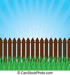 pelouse, arbres verts, barrière, arbrisseaux