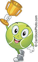 pelouse, boule tennis, mascotte