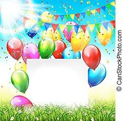 pelouse, cadre, ciel, lumière soleil, buntings, fond, confetti, herbe, ballons, célébration