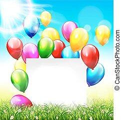 pelouse, cadre, ciel, lumière soleil, fond, herbe, ballons, célébration