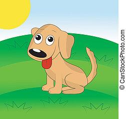 pelouse, chien vert, joyeux