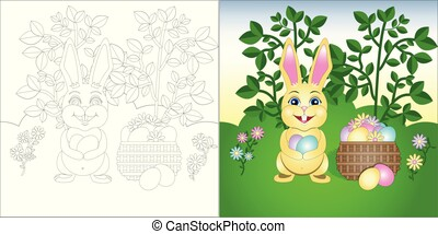 pelouse, coloration, page, vecteur, lapin pâques