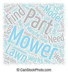 pelouse, concept, texte, faucheurs, comment, wordcloud, parties, fond, trouver