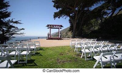 pelouse, décor, sortant, cérémonie mariage, chaises, ceremony.