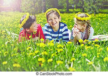 pelouse, enfants