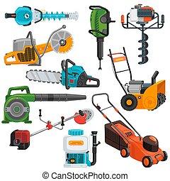 pelouse, ensemble, pouvoir électrique, isolé, illustration, faucheur, équipement, vecteur, jig-saw, fond, construction, circular-saw, outils, blanc, grass-cutter, charpenterie