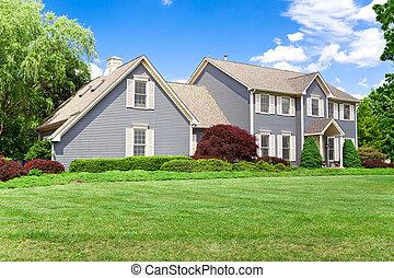 pelouse, famille, blu, colonial, suburbain, unique, maison,...