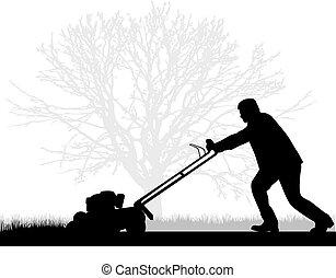 pelouse fauchant, homme