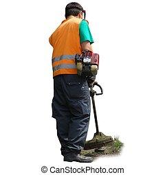 pelouse, ficelle, fonctionnement, chevêtre, faucheur, machine, homme