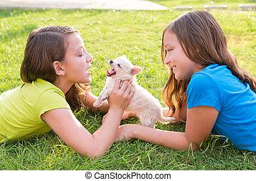 pelouse, filles, soeur, chien, jumeau, chiot, mensonge, gosse