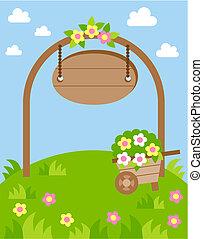 pelouse, fleurs, paysage