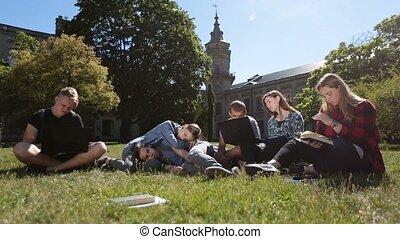 pelouse, groupe, fatigué, étudiants, étudier, dur, parc