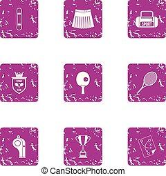 pelouse, grunge, icônes, ensemble, tennis, style