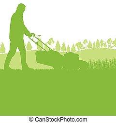 pelouse, herbe coupante, déménageur, homme