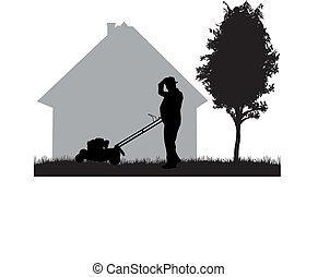 pelouse, homme fauche