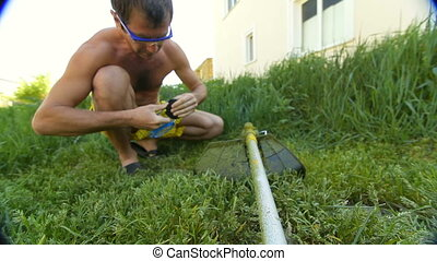pelouse, houseowner, rotatif, faucheur