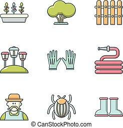 pelouse, icônes, ensemble, pose, style, dessin animé