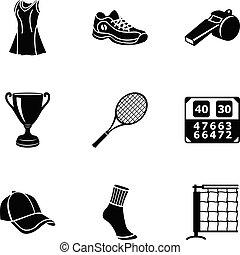 pelouse, icônes, ensemble, tennis, style, simple