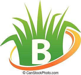 pelouse, initiale, b, centre, soin