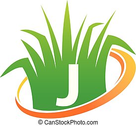 pelouse, initiale, centre, soin, j