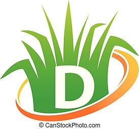 pelouse, initiale, d, soin, centre